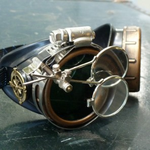 Steampunk Traveler Goggles with Double Eye Loupe