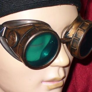Gold Victorian Steampunk Goggles with Green Lenses