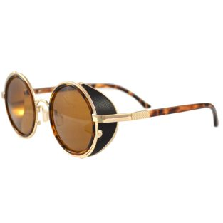 Round Tortoise Shell Sunglasses With Side Shields