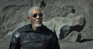 Morgan Freeman sports steampunk goggles in his latest movie, Oblivion.
