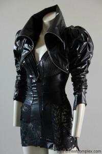 steampunk black leather jacket