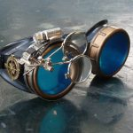 Black and Bronze Steampunk Goggles with Blue Lenses