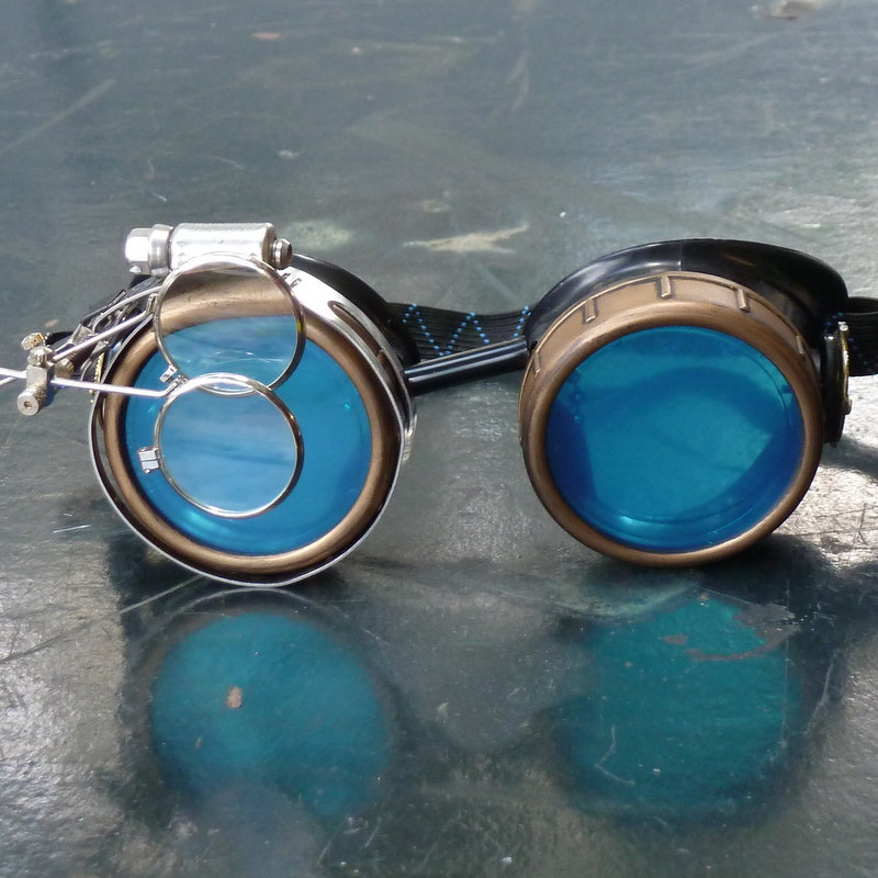 7260eea04bb Black and Bronze Steampunk Goggles with Blue Lenses   Double Eye Loupe