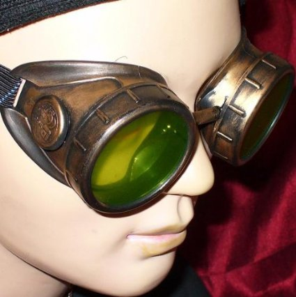 Gold Steampunk Goggles with Fluorescent Green Lenses