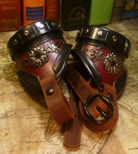 Rivited Filigree Goggles - Brown With Leather Strap
