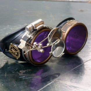Steampunk Airship Navigator Goggles with Purple Lenses