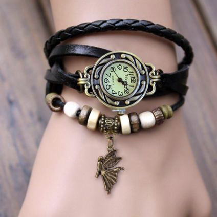 Angel charm watch with black leather braids & beading
