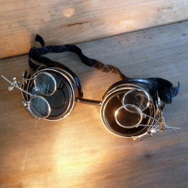 Steampunk Anthropologist Goggles With Magnifying Glasses - Front View