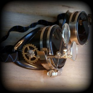 Steampunk Anthropologist Goggles With Magnifying Glasses - Partial 3/4 View