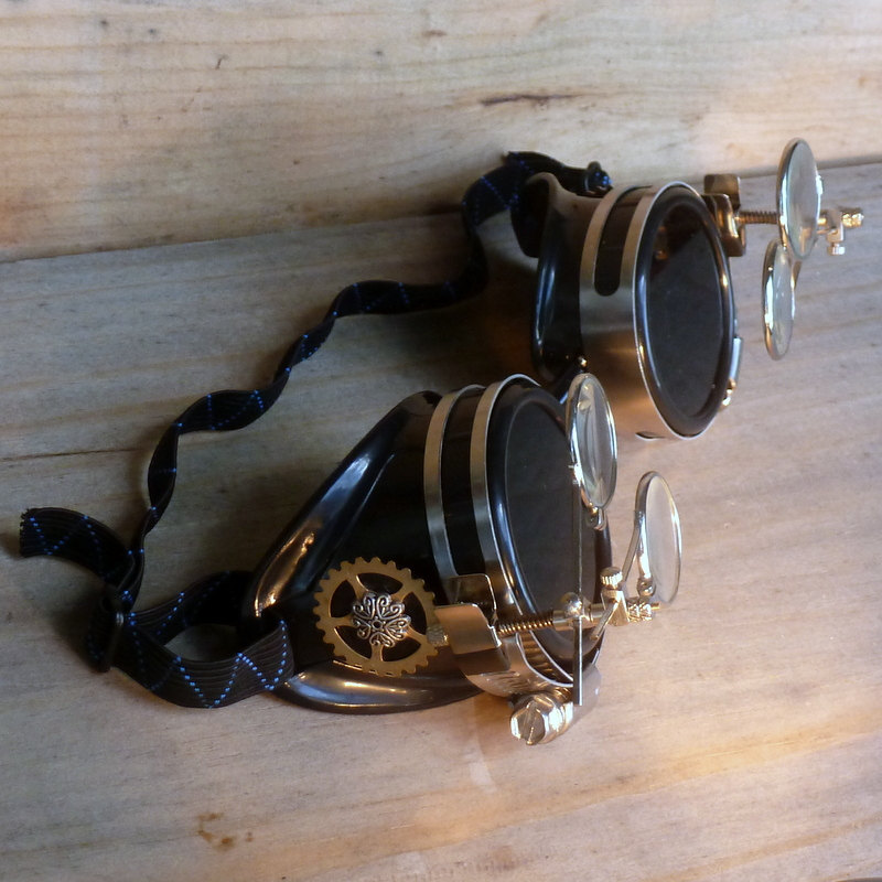 Steampunk Anthropologist Goggles With Magnifying Glasses - Full 3/4 View