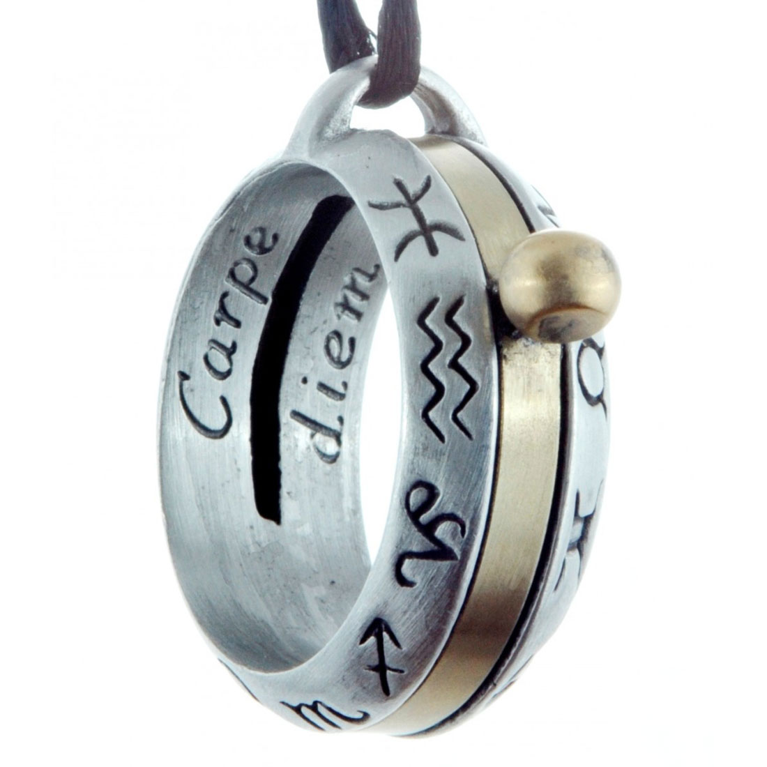 Aquitaine Astrology Sundial Necklace in Pewter