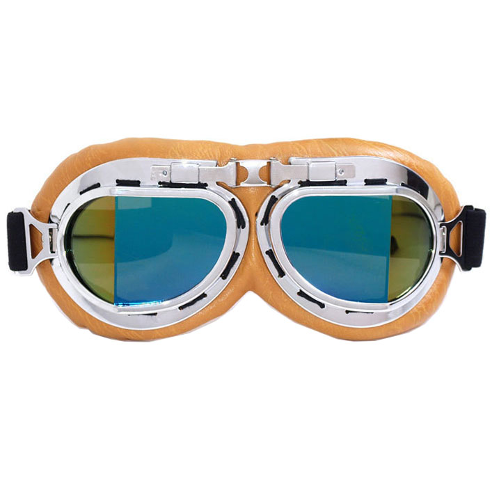 WWII Aviator / Biker Goggles: Beige w/ Blue Lenses