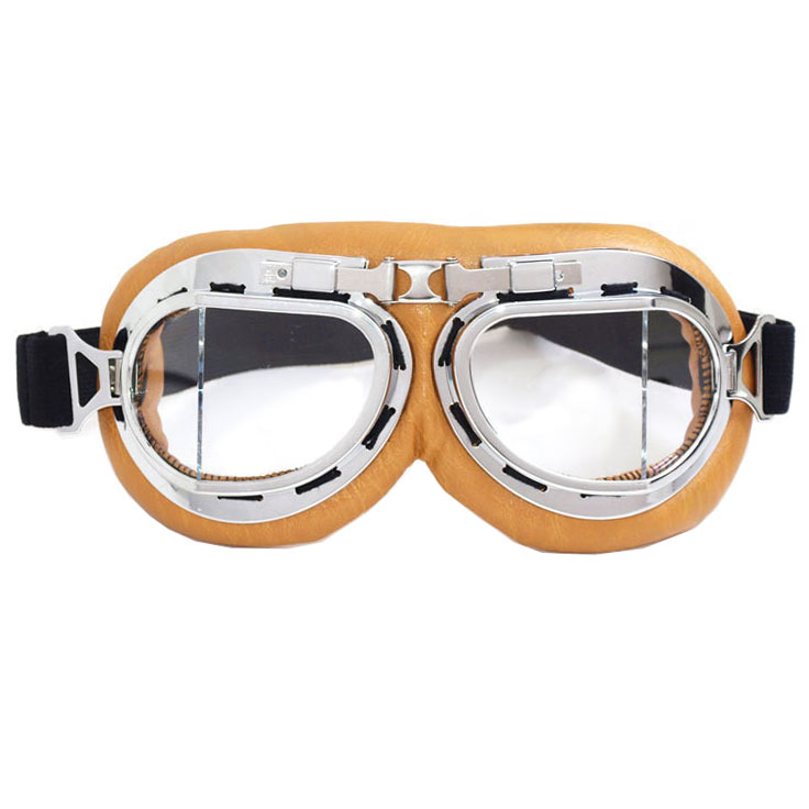 Beige Aviator Goggles - Cushioned With Clear Lenses