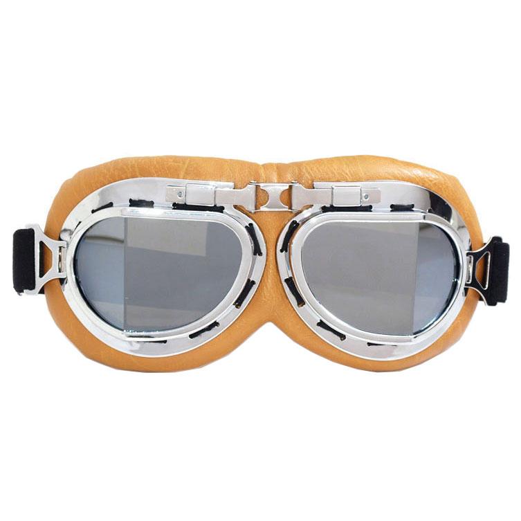 WWII Aviator / Biker Goggles: Beige w/ Mirrored Lenses
