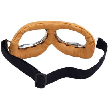 Beige Aviator Goggles - Cushioned - Rear View (Lens Color Will Vary)