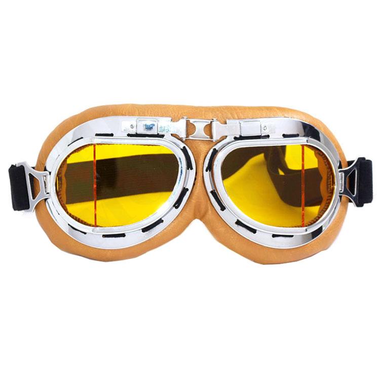 WWII Aviator / Biker Goggles: Beige w/ Yellow Lenses