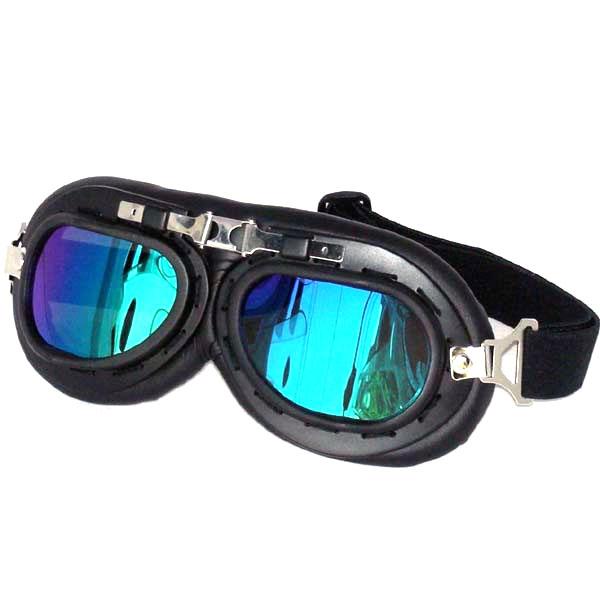 Black Aviator Goggles, Blue / Green Lenses