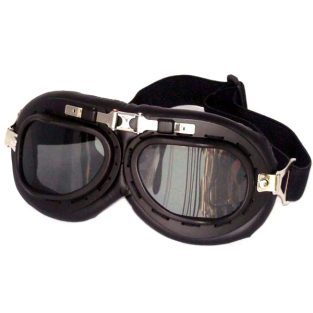Black aviator goggles, smoke gray lenses