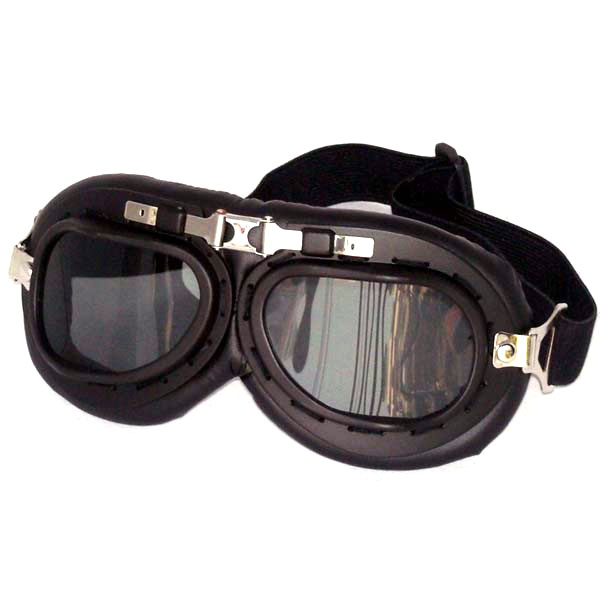 Black aviator goggles, smoke gray lenses