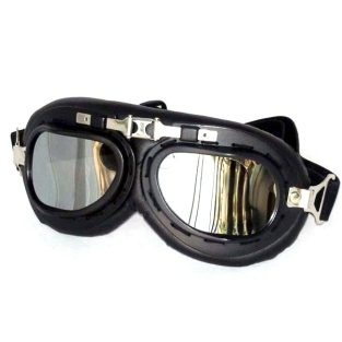 Black aviator goggles, silver mirrored lenses