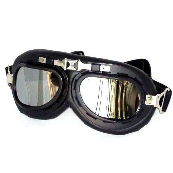 Black aviator goggles, silver mirrored lenses