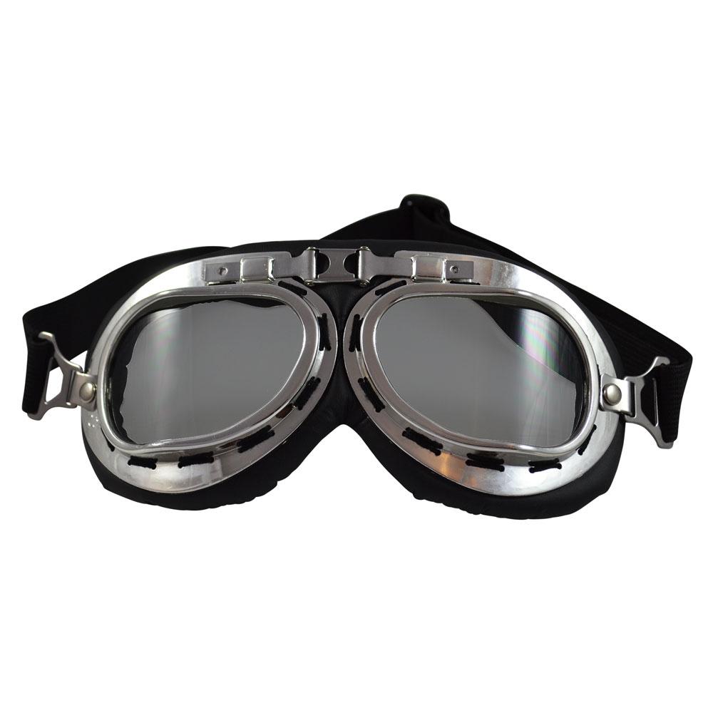 99df0e2f4b21 Cushioned Plastic Aviator Goggles – Silver Tone   Gray Lenses