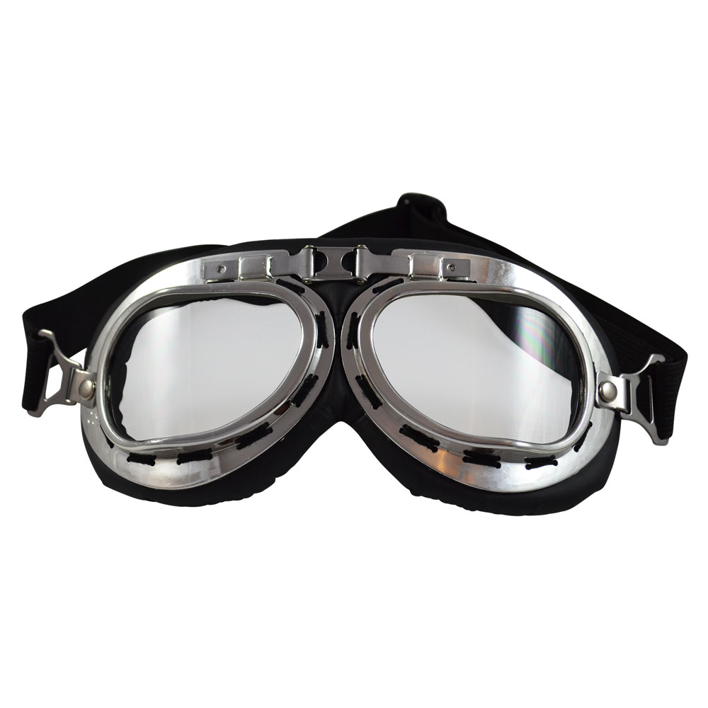 b530b9a1b7a4 Cushioned Plastic Aviator Goggles – Silver Tone   Clear Lenses