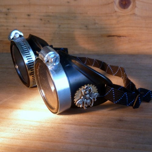 Victorian Welding Goggles with Bee Carving