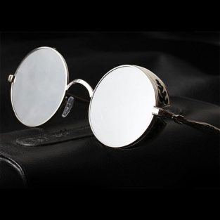 Silver sunglasses, black filigree side shields, mirrored lenses