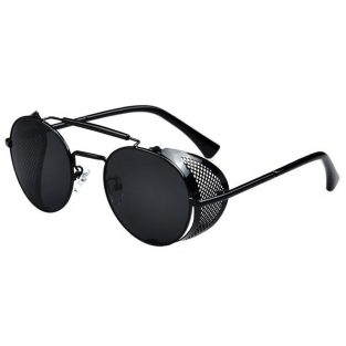 Black Oval Sunglasses: Fold In Side Shields, Smoke Gray Lenses