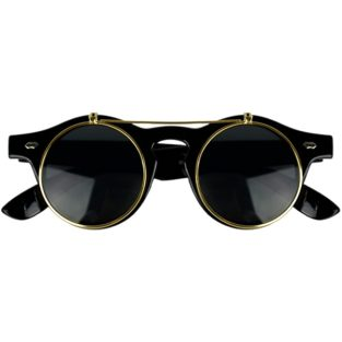 Black horn-rimmed glasses with gold flip-up lenses