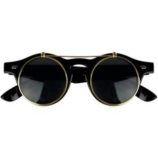 Black horn-rimmed glasses with gold flip-up lenses
