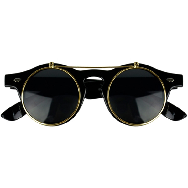65c4d19305 Black Horn-Rimmed Glasses With Gold Flip-Up Lenses
