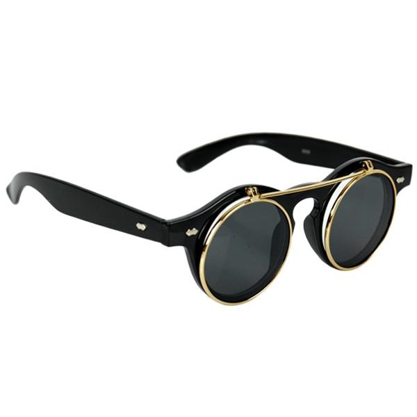 Black Horn-Rimmed Glasses With Gold Flip-Up Lenses df0f54deb5ea