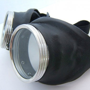 Black Leather-look Goggles