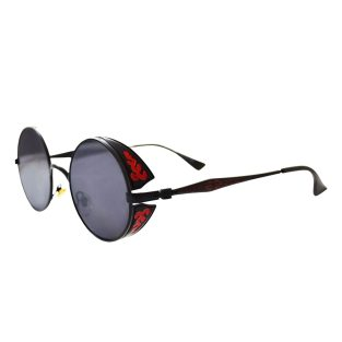 Black Sunglasses with Red Flame Filigree Side Shields