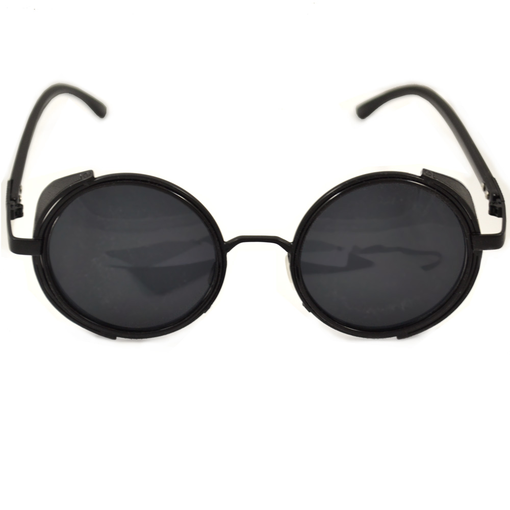 steampunk glasses black frames with side shields