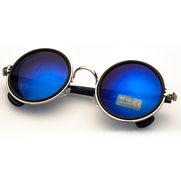 Gold Sunglasses with Crow's Feet Hinge & Blue Lenses
