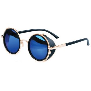 Gold toned sunglasses with side shields and blue mirrored lenses