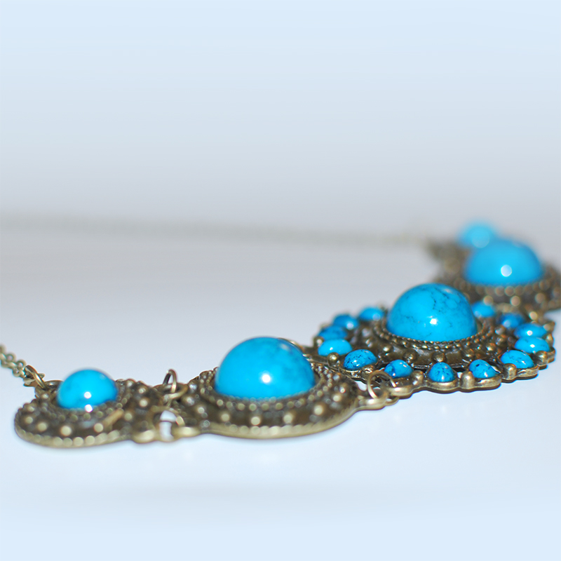 Vintage Bohemian Choker - Turquoise & Bronze - Steampunk Necklace