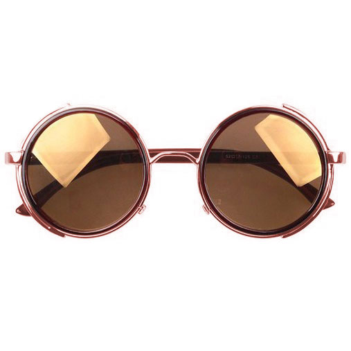 Bronze Steampunk Sunglasses - Brown Lenses - Front