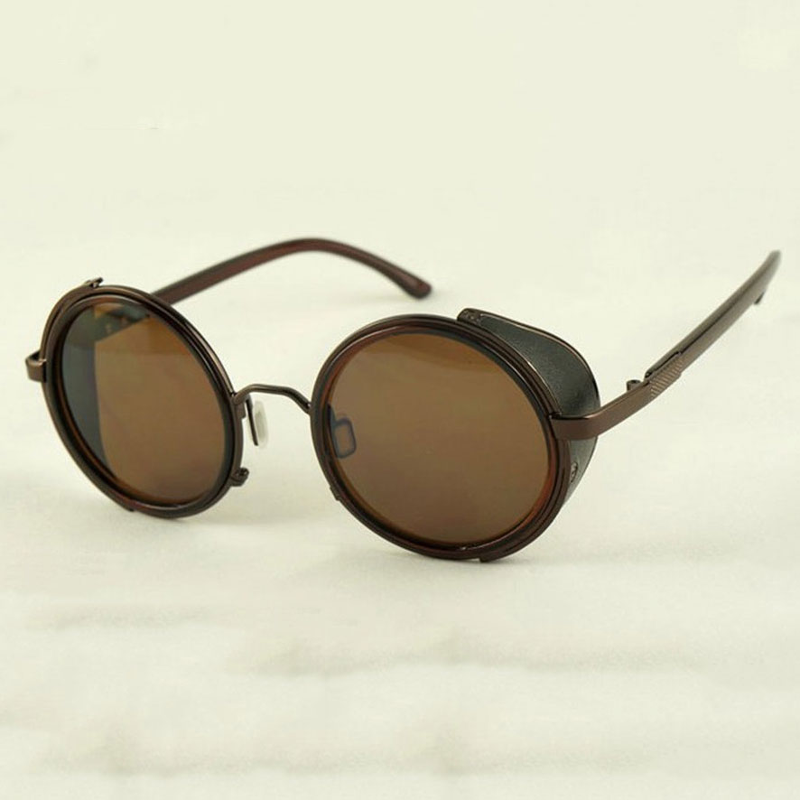 Bronze Steampunk Sunglasses - Brown Lenses - Side