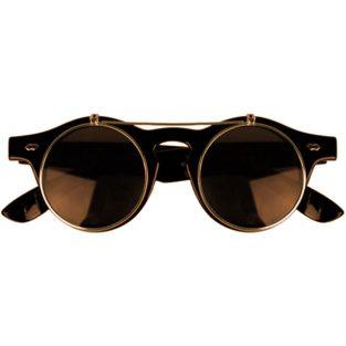 Brown horn-rimmed glasses with flip-up lenses