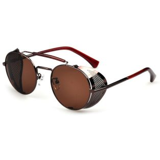 Brown sunglasses with brown perforated fold-in side shields and brown lenses
