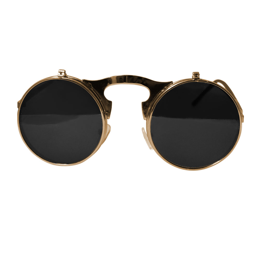 Round Bulky Metal Sunglasses With Flip Up Lenses - Gold & Gray - Front