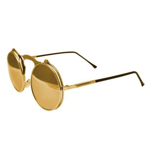 Round Bulky Metal Sunglasses With Flip Up Lenses - Gold & Gold Mirrored Lenses
