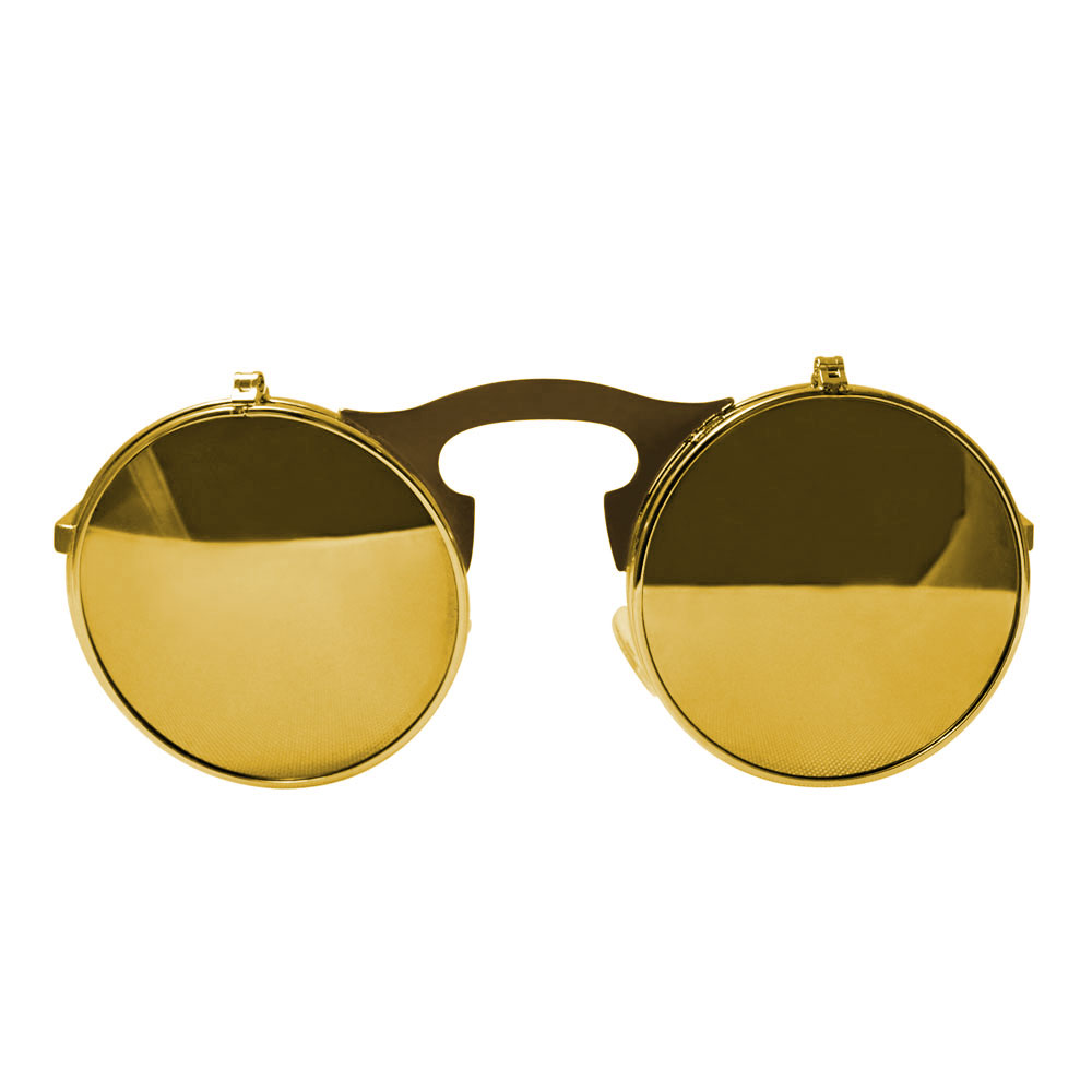 Round Bulky Metal Sunglasses With Flip Up Lenses - Gold & Gold Mirrored Lenses Front