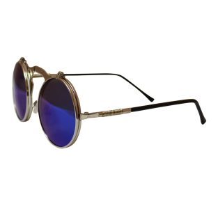 Round Bulky Metal Sunglasses With Flip Up Lenses - Silver & Blue