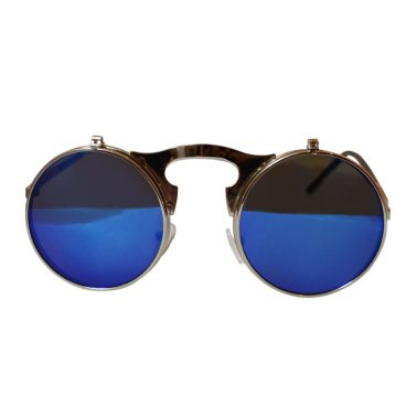 Round Bulky Metal Sunglasses With Flip Up Lenses - Silver & Blue - Front