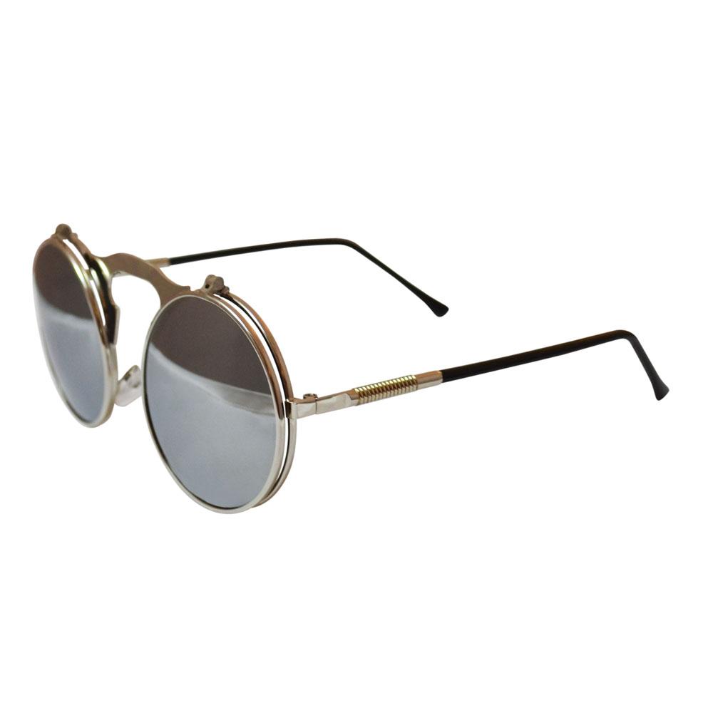 de1834efb17 Bulky Round Flip Up Metal Sunglasses – Silver w  Mirrored Lenses